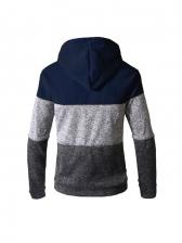 Striped Contrast Color Hoodie Coat