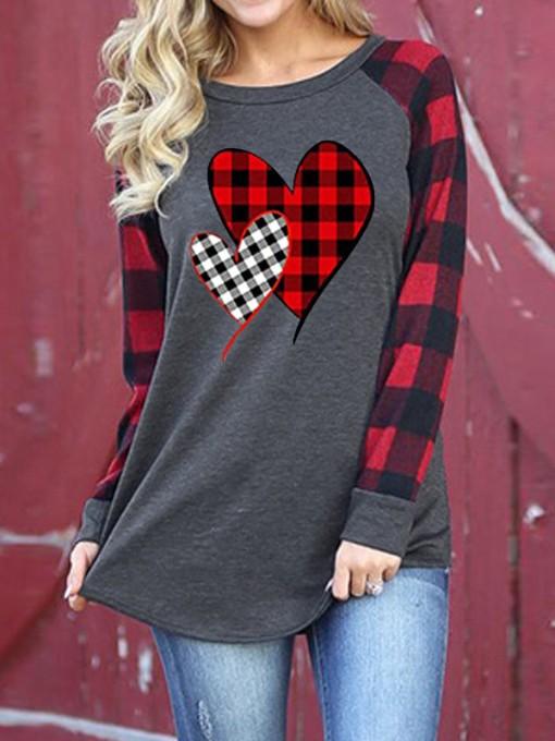Contrast Color Plaid Raglan Sleeve Sweatshirt