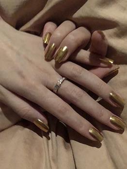 Golden Fashion Wear False Nail Patch 24 Pieces