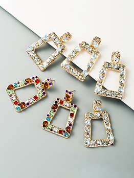 Geometry Rhinestone Business Women Earrings