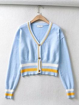 Korea New Contrast Color Cardigan Sweater