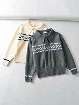 New Thicken Turndown Collar Knitting Sweater
