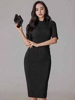 Simple Knee Length Short Sleeve Dress