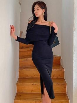 Chic Slit Long Sleeve Off The Shoulder Dress