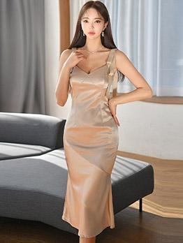 Elegant V Shoulder Strap Sleeveless Dress