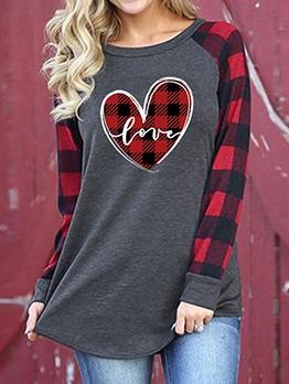 Plaid Heart Print Sweatshirts For Women