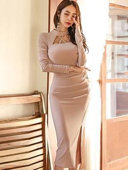 Trendy Side Split Solid Long Sleeve Dress