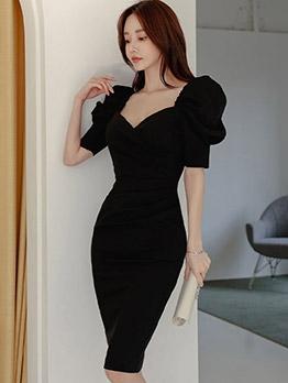 Fashion Puff Short Sleeve Ladies Dress