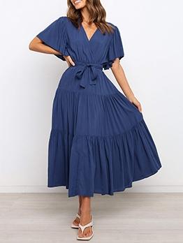 Pure Color Ruffled Short Sleeve Maxi Dress