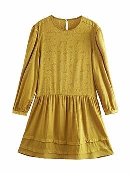 2021 Spring Flower Long Sleeve Short Dress