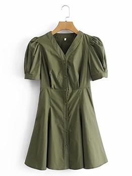Summer Solid V Neck Puff Sleeve Dress