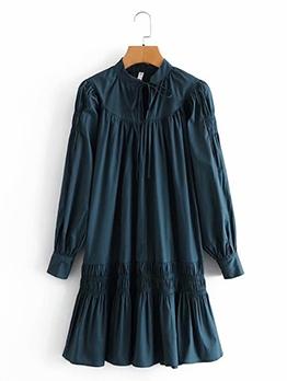 Korea Solid Ruched Longs Sleeve Dress