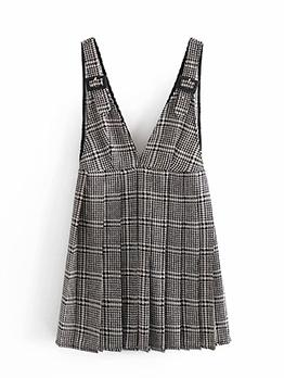Sexy Plaid V Neck Camisole Dress