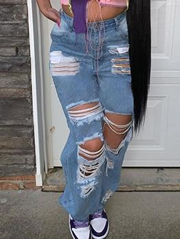 Streetwear Plus Size Loose Distressed Jeans