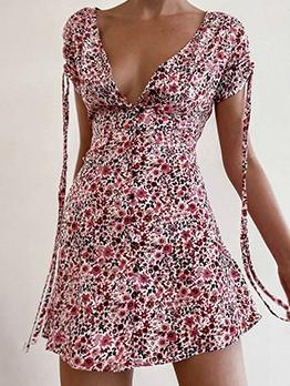 V Neck Floral A-Line Short Sleeve Dress
