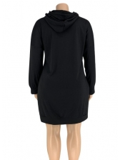 Casual Letter Plus Size Hoodie Dress