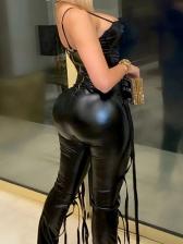 Trendy V Neck Slim Fit PU Black Camisole