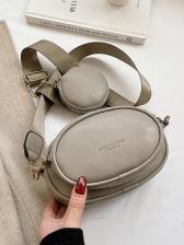 Solid Color Wide Strap Oval Shoulder Bag