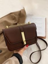 Simple Style Pure Color Chain Shoulder Bag