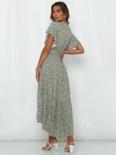 Printed V Neck Tie Wrap Short Sleeve Maxi Dress