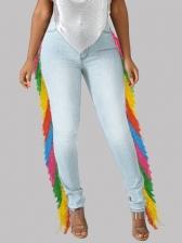 Colorful Tassel High Rise Skinny Jeans