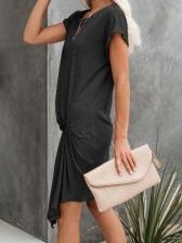 Summer Twist Loose Short Sleeve Dress