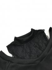 Lace Panel Cold Shoulder Short Sleeve T Shirt