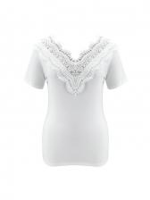 Summer Lace Trim V Neck T Shirts