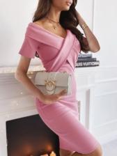 Solid V Neck Cross Short Sleeve Dress
