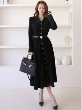 Single-Breasted Black Long Sleeve Midi Dress