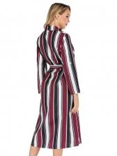 Spring Latest Striped Design Long Sleeve Maxi Dress