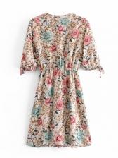 Vintage V Neck Print Short Sleeve Dress