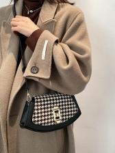 New Houndstooth Contrast Color Shoulder Bags