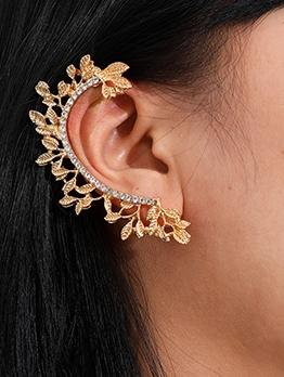 Create Leaf Design Rhinestone Earrings