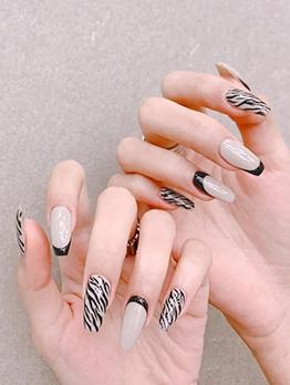 Online Zebra-Stripe Fashion False Nail Patch
