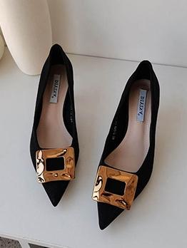 Pointed Toe Metal Buckle Design High Heels