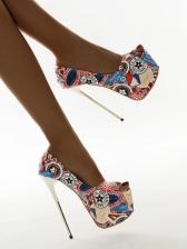 Peep-toe High Platform Printed High Heel Shoes