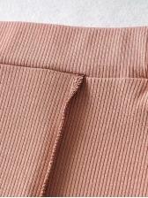 Irregular Hem Solid Top And Skirt Set