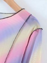 Gradient Color Gauze Long Sleeve T Shirt