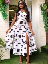 Inclined Shoulder Slit Sleeveless Maxi Dress