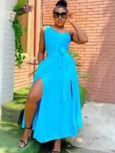 Euro Inclined Shoulder Solid Slit Maxi Dresses
