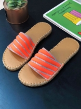 Round Open Toe Flat Womens Slippers
