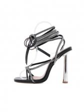 Roman Style Rhinestone Square Toe Lace-Up Sandals