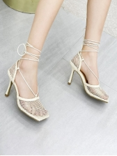 Breathable Mesh Closed Toe Lace-Up Heel Sandal