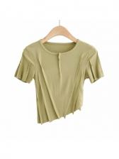 Sexy Irregular Solid Patchwork T Shirt