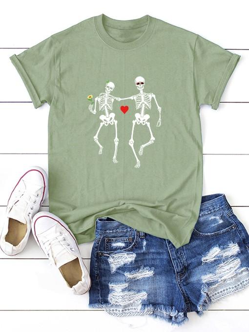 Casual Print Loose Short Sleeve T Shirt