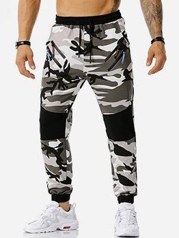 Leisure Printed Drawstring Male Track Pants