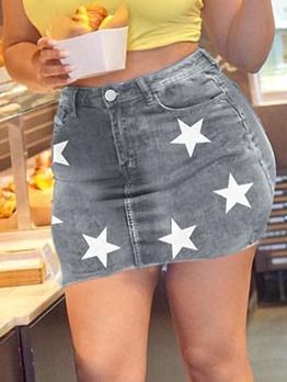 Stylish Star Print Short Denim Skirt