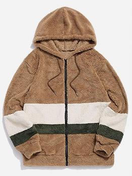 Fashion Color Block Men Zip Up Hoodies