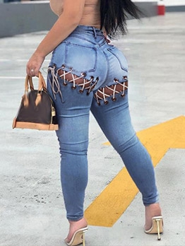 Chic Lace-up Design High Rise Skinny Jeans